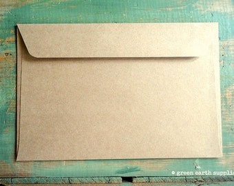 "50 6x9 Kraft Envelopes: eco-friendly envelopes, recycled envelopes, grocery bag kraft brown 6""x9"" booklet envelopes (15.2 cm x 22.9 cm)"