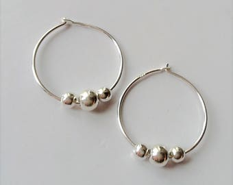 18mm Sterling Silver Hoop Earrings, Small Beaded Hoop Earrings, Boho Earrings, Minimalist Style Silver Earrings.