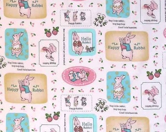 Easter Fabric, Baby Bunny Rabbit Cotton Fabric, Nursery Hello Rabbit Cotton Fabric