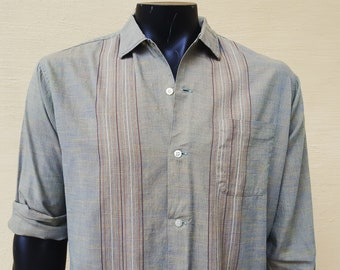 50s THIN Button Down LOOP Collar Shirt Green Pin Striped Madras Cotton Long Sleeve Lightweight Rugby Brand