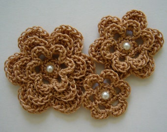 Crocheted Flowers - Copper Mist With a Pearl - Cotton Flowers - Crocheted Flower Embellishments - Crocheted Flower Appliques