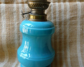 Blue turquoise milk glass oil lamp end 19th France old lighting table lamp blue turquoise lamp country style romantic lamp french brocante