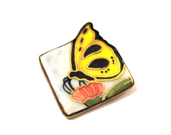 Vintage Porcelain Painted Butterfly Pin Brooch