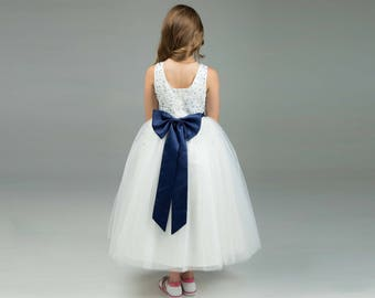 Navy Flower Girl Dress -- Floor Length Flower Girl Dress -- Tulle Flower Girl Dress