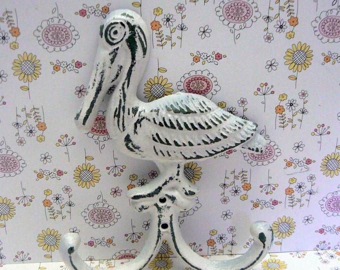 Pelican Cast Iron Wall Hook White Shabby Chic Cottage Chic White Nautical Beach House Home Decor