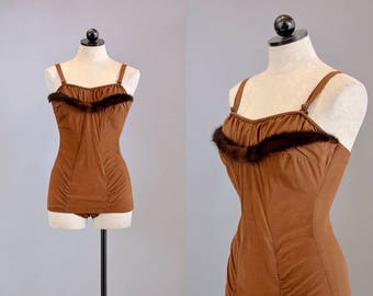50s Swimwear // 1950s Brown Bathing Suit w/ Mink Trim // S-M