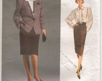 80s Anne Klein Womens Jacket, Blouse & Skirt Vogue Sewing Pattern 1931 Size 12 Bust 34 American Designer Vintage Sewing Patterns