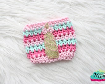 Pink Cup Cozy { Unicorn Party } Unicorn Horn, gold pastel, glitter crochet Coffee cup sleeve,  starbucks plastic cups