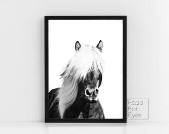 Iceland Horse Print, Black And White Artwork, Pony Wall Art, Scandinavian Print, Modern Wall Art, Minimalist Wall Decor, Farm Animal Print