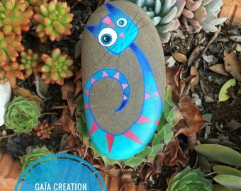 Stone hand - painted blue and pink cat / Hand painted pebble - Sweet blue and pink cat