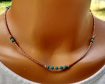 Copper and turquoise necklace, boho chic turquoise choker, copper necklace, gemstone choker, boho chic beaded necklace,  bohemian jewelry