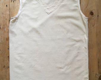 Vintage 1940s French Workwear Vest Top Cream Linen M Undergarment Menswear