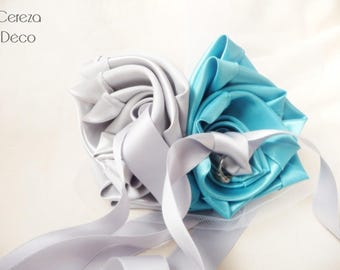 Ring bearer wedding blue turquoise grey Pearl Silver Flower original