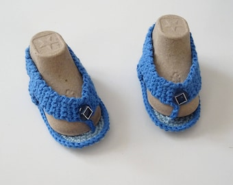 Cotton baby thongs, baby sandals, baby slippers, baby shoes, blue thongs, birth gift, summer accessories, handmade thongs, baby flip-flops