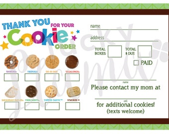 2018 Girl Scout Cookie Thank You/Order Form/Receipt  - Printable