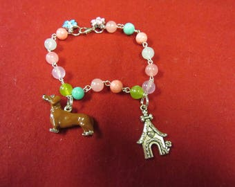 So Sweet Dachshund and Dog House Plus Flower Charms Colored Glass Bead Bracelet-One of a Kind