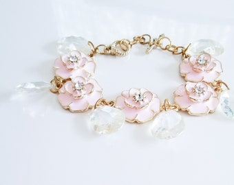 Gold and Pink Flowers Bracelet