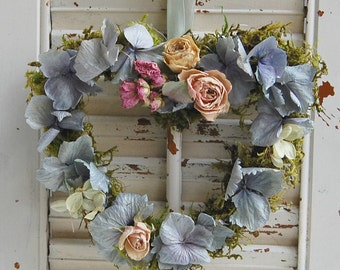 """Dried Flower Heart Wreath / Spring Wreath / Cottage Decor / Hydrangea Roses and Moss 7"""" x 8"""""""