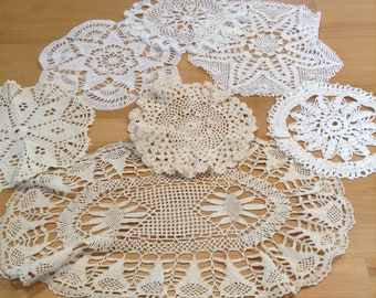 Vintage French Hand Crochet Doilies (selection x7)