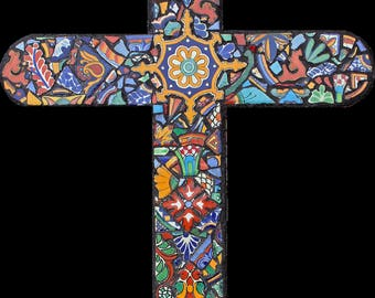 Large Mosaic Cross Made With Talavera Tiles