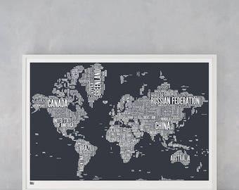 World Type Map, World Word Map, World Font Map, World Artwork, World Wall Poster, World Map, World Typographic Wall Poster, World Art Print