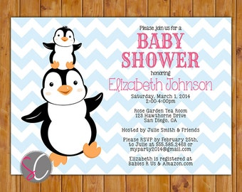 Penguin Baby Shower Invite Stacked Penguins Gender Neutral Baby Blue Chevron Pink Invitation 5x7 Digital Invite (356)