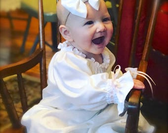 Baby Knit Gown Long Sleeve  Special Occasion Boutique Ivory or White Monogrammed  with Name