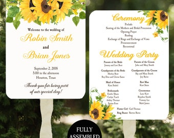Wedding Program Fans Printable or Printed/Assembled with FREE Shipping - Rustic SunflowerCollection