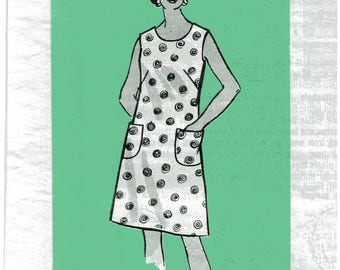 "Sewing Pattern, Vintage 1970s Plus Size Mail Order Shift Dress Pattern, Women's Size 44, Bust 48""(122cm), Free US Shipping"