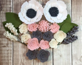 Handmade Wool Felt Flowers,Charcoal,White,Ivory and Bubble Gum