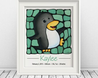 Penguin Custom Print with Birth Details - Blue, Pink, Green & Purple, Children's Wall Art, 8 x 10 inch - FREE SHIPPING in Canada