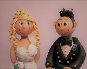 Personalised bride and groom wedding cake topper made to order