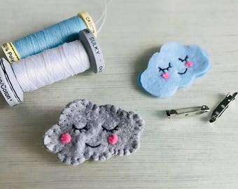 Felt cloud brooch, Cute Cloud pins