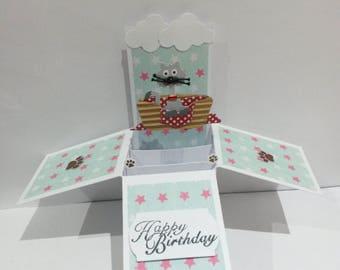 Cat theme pop up box card