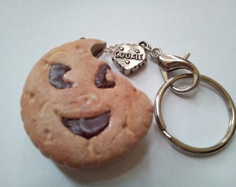 Keychain delicious effect smile BN chocolate crunched in fimo
