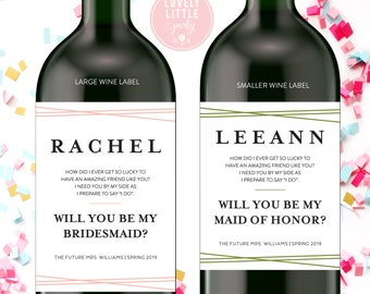 Modern Lines Will you be my bridesmaid wine labels, bridesmaid wine labels, modern bridesmaid labels, bridesmaid gift - style 1009