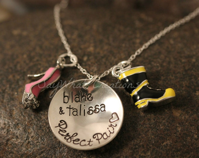 The Perfect Pair Fireman's Wife Personalized Boot and High Heel or Flip Flop Necklace Hand Stamped