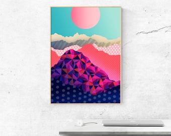 Landscape print - Mountain print - Home decor - Office decor - Nature print - Art print - Mountains poster- Large size print - giclee