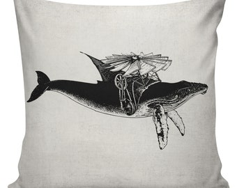 Steampunk Pillow Cover Cotton Canvas Throw Pillow 18 inch square Great Whale Migration #UE0033