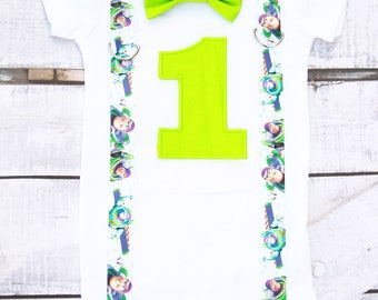 Baby Boy first birthday bow tie and suspender set, Buzz themed birthday Lightyear  themed birthday Cake smash outfit 1st birthday toy themed