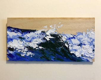 Wave Study mini oil painting