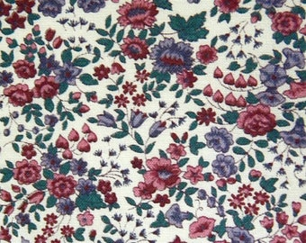 """Purple and Pink Flowers Cotton Fabric, New Vintage, 44"""" X 7 Yards, Tiny Flower Print"""