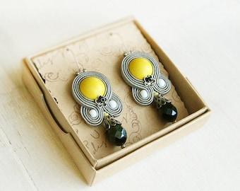 Grey yellow earrings, grey dangle earrings, yellow beaded earrings, grey Soutache earrings, Women accessory, grey earrings, Sterling silver