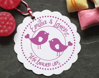Stamp bird wedding with your name 40 mm