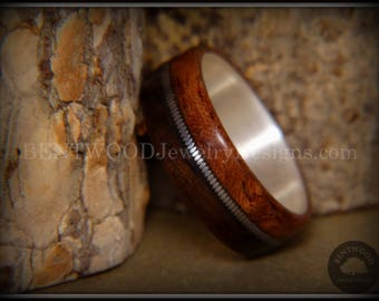 Bentwood Ring - Waterfall Bubinga and Ebony on Fine Silver Core with Guitar String Inlay