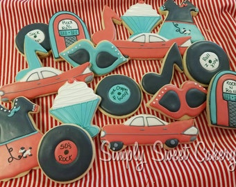 50s themed with classic cars sugar cookies (24 cookies)