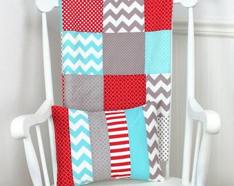Patchwork Quilt, Minky Baby Blanket, Nursery Decor, Baby Shower Gift, Baby Quilt, Baby Bedding, Red, Gray, Grey, Aqua Blue, Aqua, White
