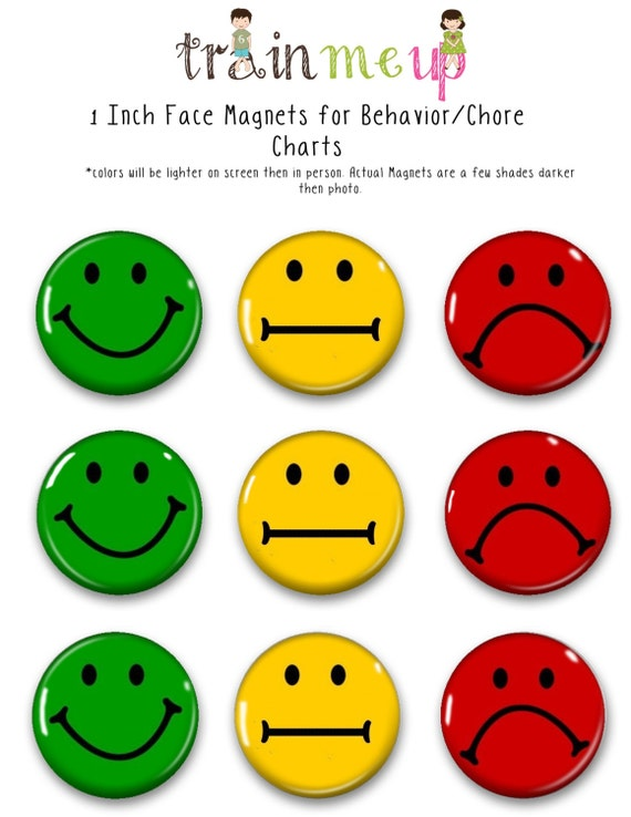 Face magnets for chore charts training magnets behavior
