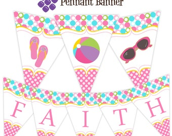 Pool Party Pennant Banner - Pink, Lime Green, Turquoise Blue Polka Dots Pool Personalized Birthday Party Banner - A Digital Printable File