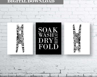 Black and White Laundry Wall Art Print. Set of Three (3)-Instant Download. Peg Wall Art. Soak Wash Dry Fold Repeat. Laundry Printable Art.